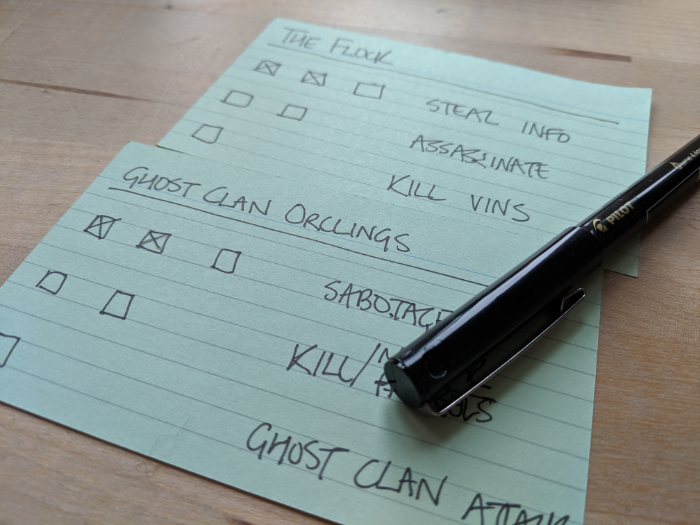 Photo of threat index cards