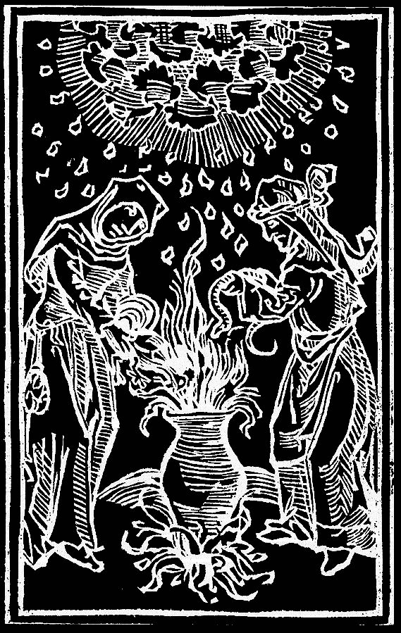 Woodcut illustration of witches with cauldron.
